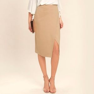 Lulu's Beige Pencil Skirt